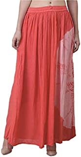 Mittal fashion Women's Cotton and Crush Gajri Skirt (Orange; Free Size)