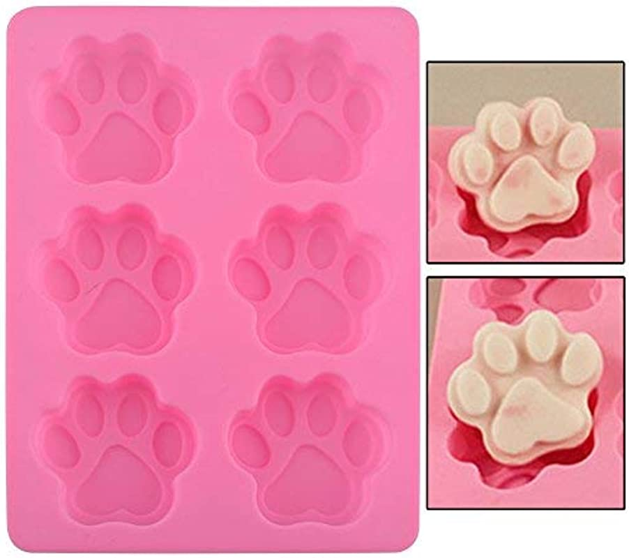 Silicone Mold Paw Shape Pink Kitchen Tools Cake Muffins Pet Treat Jello Pudding
