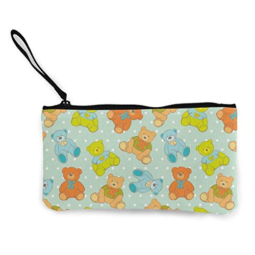 shenguang Cute Teddy Bear Small Coin Purse, Canvas Purse Zipper Change Purse,Zipper Pouch