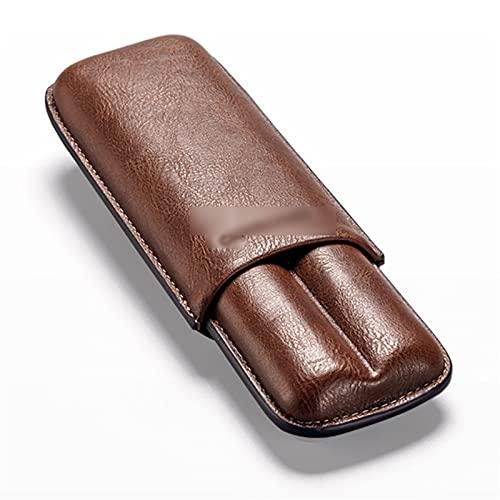 Humidores Estuche de Cuero marrón para Puros para 2 Puros, Estuche de Cuero para Puros, Puros para Amigos Papá Amante del cigarro (Color : Brown, Size : 17.5 * 3.2 * 7cm)