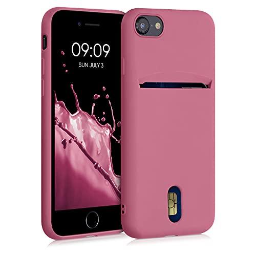kwmobile Funda Compatible con Apple iPhone 7/8 / SE (2020) - Carcasa de Silicona con Tarjetero y Acabado de Goma - Rosa Antiguo