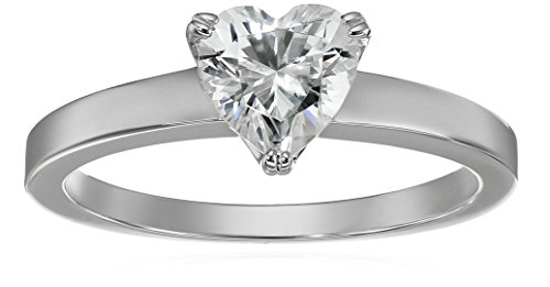 Amazon Collection Platinum-Plated Silver Heart-Shape (1.5 cttw) Solitaire Ring made with Swarovski...