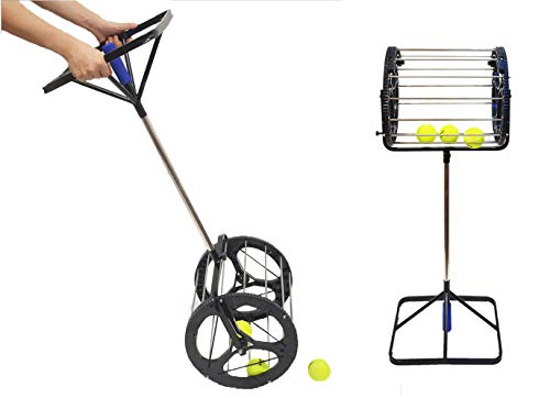 CHAOFAN 2 in 1 Tennis Balls Pickup Automatic Balls Receiver with Handle for Storage Adjustable Height Hold Up 55 Tennis Balls