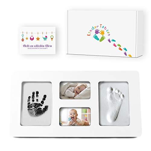 KinderTatzen Baby Hand- und Fußabdruck - Set aus Bilderrahmen, Gips, Farbe & Grußkarte - das perfekte Geschenk zur Geburt für Jungen & Mädchen
