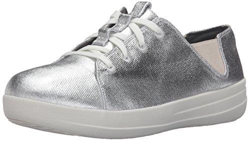 FitFlop F-Sporty Laceup Sneaker, Zapatillas Mujer, Plateado (Silver), 36 EU