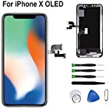 Ecran Tactile LCD pour iPhone X Vitre De Remplacement 3D Touche Ecran D'Affichage avec Kit D'Outils Complet De Réparation Noir (5.8'' Pouces)