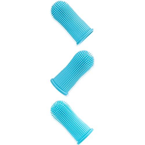 Yopinlive Zahnpflege Hundezahnbürste für Hunde Weiche Fingerzahnbürste aus lebensmittelechtem Silikon für Hunde, Katzen und Haustiere - 360° voll umschlungene Borsten 3er-Set (Blau)