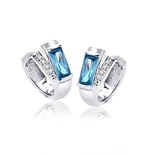 MATERIA Creolen Ohrringe Rechteck 925 Silber Zirkonia blau rhodiniert in Schmuckbox #SO-348