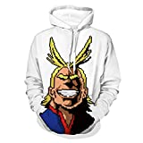 Photo de Kfacvy All Might Anime Hoodies Man My Hero Academia Sweatshirts for Womens Unisex Boku no Hero Academia Japanese Manga ACG Pullover Cotton Casual Funny Sweatshirts White,3XL par