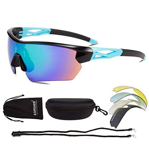 Karsaer Polarized Sports Sunglasses Cycling Sun Glasses with 4 Interchangeable Lenses for Men Women Running Driving Golf Baseball Glasses