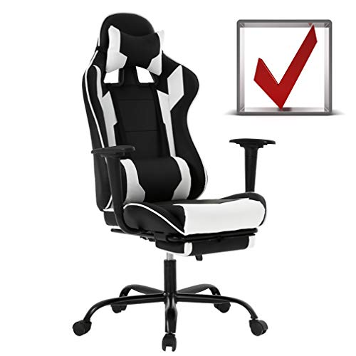 BestMassage Gaming Chair Ergonomic Swivel Chair High Back Racing Chair, with Footrest, Lumbar Support and Headrest chair footrest gaming