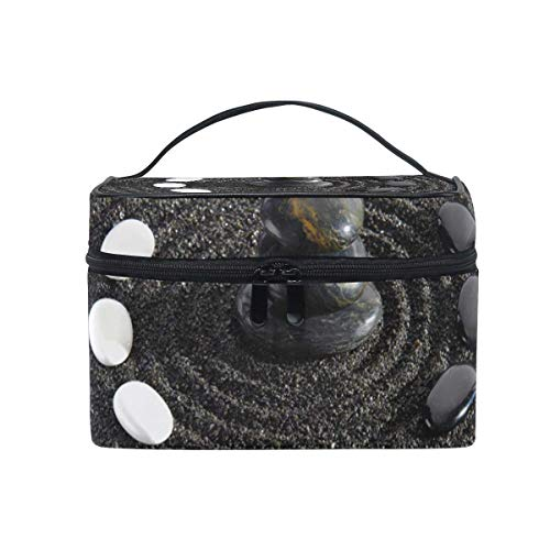 Makeup Cosmetic Bag Art Pebbles Sand Black Stone Portable Storage with Zipper