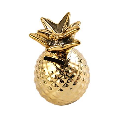Fenteer Keramik Spardose Gelddose Sparschwein Sparbüchse Ananas Modell Dekoration - Gold