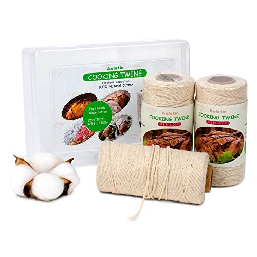 Auletin Cooking Twine String - 3 Pack Butchers Twine, 100% Natural Cooking String for Meat, 7 Ply 328 Ft Thick Cotton String, Kitchen Twine for Roasting, Rotisseries, Turkey, Cheese, Sausage Rope