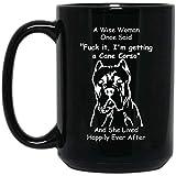 N\A Funny Cane Corso una Mujer Sabia Dijo una Vez el Dedo Medio Taza de café Negro