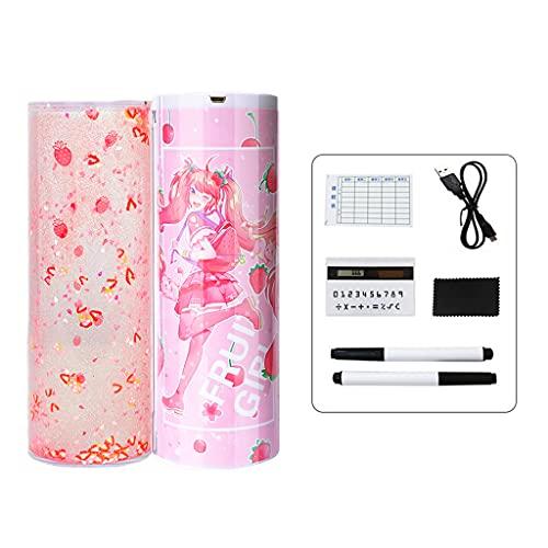 YUZI Fancy Quicksand - Estuche para lápices con calculadora desmontable y bolígrafos borrables, cable USB, soporte para bolígrafos