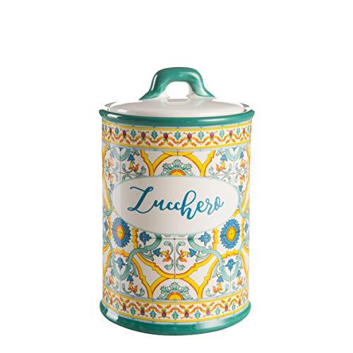 Montemaggi Barattolo Zucchero Tappo Ermetico in Ceramica Decoro Maioliche 10.5X10.5X17cm