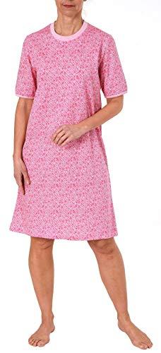NORMANN-Wäschefabrik Damen Nachthemd Kurzarm im edlen Tupfen-Punkte Design 191 214 90 218, Farbe:rosa, Größe2:48/50