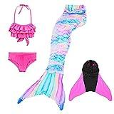 KEEPAA 4PC Coda Sirena con Bikini Bambina Costume da Bagno,Bikini da Principessa Sirena,co...