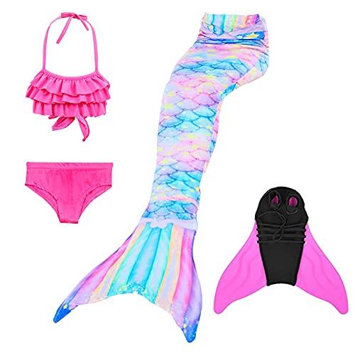 KEEPAA 4PC Coda Sirena con Bikini Bambina Costume da Bagno,Bikini da Principessa Sirena,con Pinna,per Nuotare Partito Cosplay (120-130)