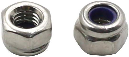 TOUHIA 50 Pcs M3 x 0.5mm Stainless Steel Lock Nut Nylon Insert Hex Self Locking Nuts