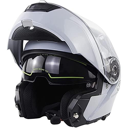 Casco Moto Modular Bluetooth, Homologado ECE Casco De Moto Integral Scooter Para Mujer Hombre Adultos Casco Moto Abatible Con Doble Visera Lente Grande Cement Gray 2,M