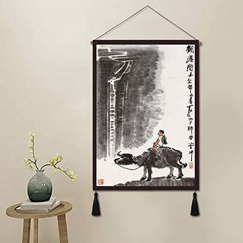 Stromzähler Box Tapisserie,Modernen Chinesischen Schäferhund Kind Reiten Malerei Chinesischen Stil Wohnzimmer Einfachen Eingang Chinesische Malerei Tinte Landschaft Dekoration Malerei Tapisseri