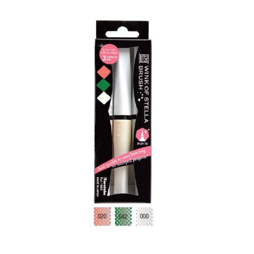Zig Glitzer-Stifte Marker Sparkle Wink von Stella-Pinsel-Set, 3 Farben White Xmas