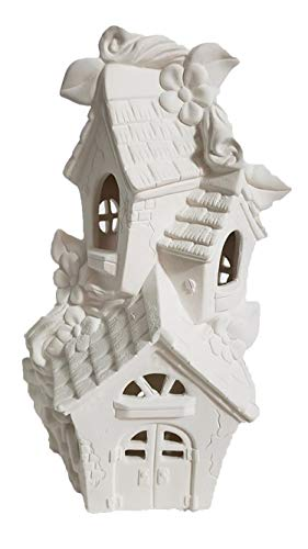 """Mandeville Tri Level Fairy House 12"""" Ceramic Bisque, Ready to Paint"""