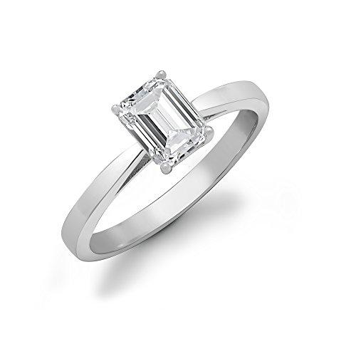 Jewelco London Mujer Sólido 18Ct Oro Blanco 4 Engaste Corte Esmeralda G si 25pts Anillo Solitario Diamante de Compromiso - G