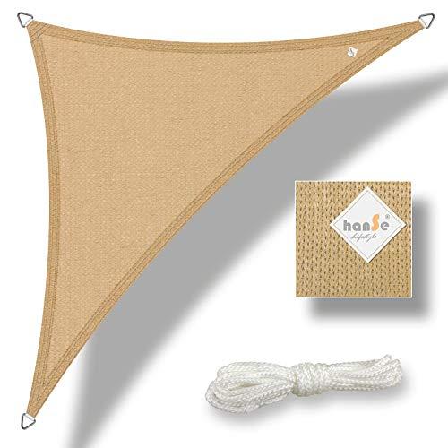 hanSe® Marken Sonnensegel Sonnenschutz Wetterschutz Wetterbeständig HDPE Gewebe UV-Schutz Dreieck 3x3x3 m Sand