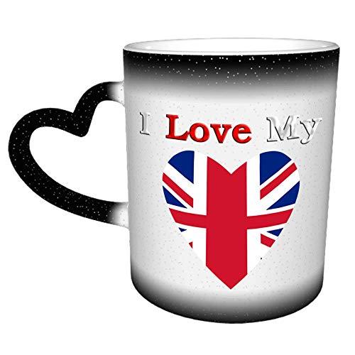 Amo mi bandera de Inglaterra Taza Taza de café Cerámica Manija de corazón de cerámica