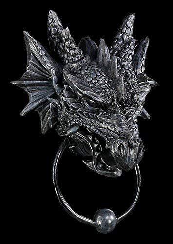Türklopfer mit Drachenkopf schwarz   Drache Figur Gothic Deko