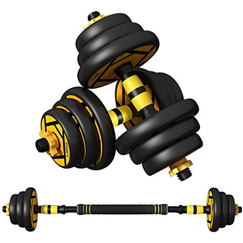 Adjustable Weights Dumbbells Set, Free Weights 2-in-1 Dumbbell Barbell Weight Pair Lifting Dumbells with non-slip handles for Body Workout - Can Be Used As Barbell (20KG)