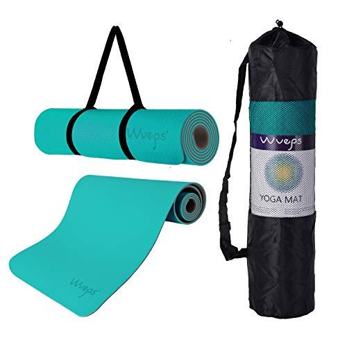 esterilla deporte, esterilla yoga Wueps, incluye correa de hombro y bolsa de transporte, ideal para realizar deporte en casa, yoga mat, esterilla yoga antideslizante, (Color Azul de Lago y Café)