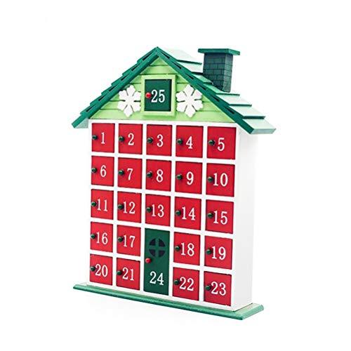 Faviye houten countdown adventskalender creatieve kerstmis adventskalender voor ornamenten decoratie snoepje cadeauhouder