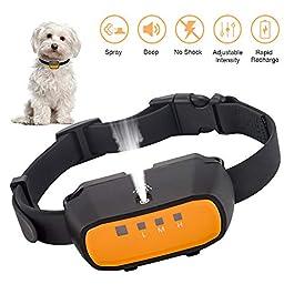 Queenmew Stop Dog Barking, Auto Spray Anti-Bark Collar, Rechargeable & Waterproof Dog Barking Training Collars