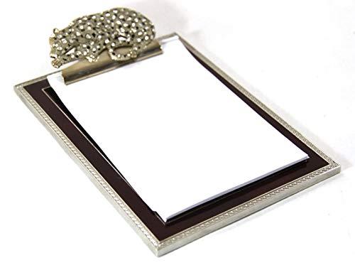 The Royal Family Pinza porta tarjetas Cartier Style de metal esmaltado azul con Ghepardo de strass