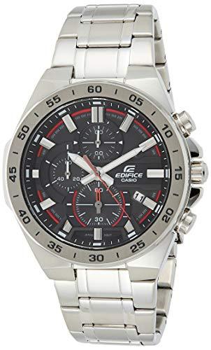 Casio EDIFICE Reloj en caja sólida, 10 BAR, Negro/Rojo, para Hombre, con Correa de Acero inoxidable, EFR-564D-1AVUEF