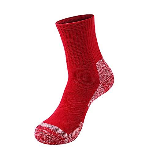 GCHBST 3 Pares De Calcetines De Senderismo Unisex, Calcetines Deportivos Al Aire Libre,Rojo,One Size