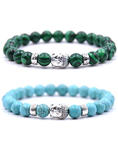 Bracelet Perle Bouddhiste - Deux Bracelets en Perles Naturelle avec amulette tête de Bouddha et Pierre de Protection Chakras - Bracelet Couples Perles d'Énergie