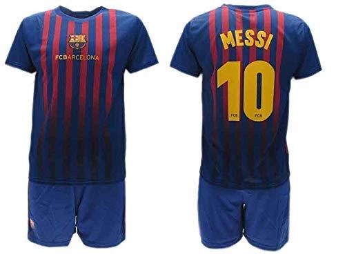 Komplett Offiziell Shirt + Short Fußball Lionel Leo Messi 10 Barcelona Blau Grana Home Saison 2018-2019 Replica OFFIZIELLE mit Lizenz (6 Jahre)