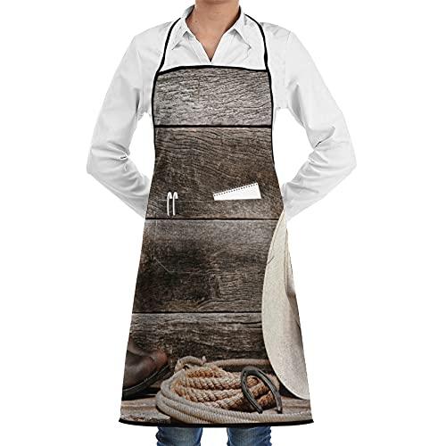 ASNIVI Delantal de cocina,Decoración occidental, sombrero de vaquero de paja blanca de rodeo del oeste americano con botas de cuero de lazo en madera ,Delantales para cocina casera, cocina de