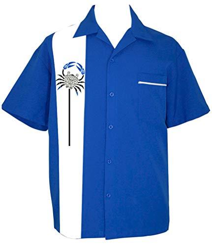 Hawaiian Shirt Men's Tiki Shirt Button Up Short-Sleeve Tiki Crab Shirt - BBQ, Crab Feast, Cooking