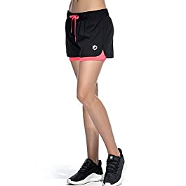 CtopoGo Women's Inner Pocket Breezy Mesh 2 in 1 Running Workout Sports Shorts Black/Pink