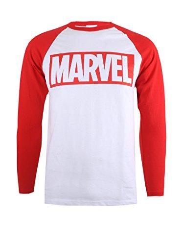 Marvel Camiseta Manga Larga Logo Blanco/Rojo 2XL