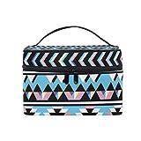 ALARGE Bolsa de maquillaje tribal azteca, patrón geométrico, bolsa de cosméticos, bolsa de viaje portátil, bolsa de aseo organizador para mujeres y niñas