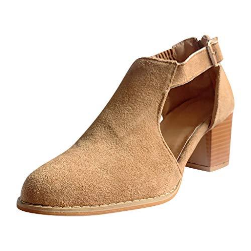 Mujeres Sandalias de Tacón Medio Casual Grueso con Hebilla Hueca Zapatos Puntiagudos Zueco Antideslizante Sandalias Tacon Ancho Botines Sexys Zapatos Comodos(marrón,35)