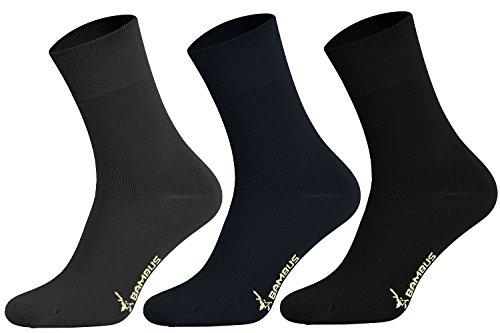 Tobeni 6 Paar Bambussocken ohne Gummi Unisex Bambus Business-Socken für Damen & Herren Farbe Anthrazit-Marine-Schwarz Grösse 39-42