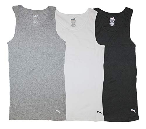 PUMA Men's 3 Pack Ribbed Tank Tops, White/Gray/Black, L